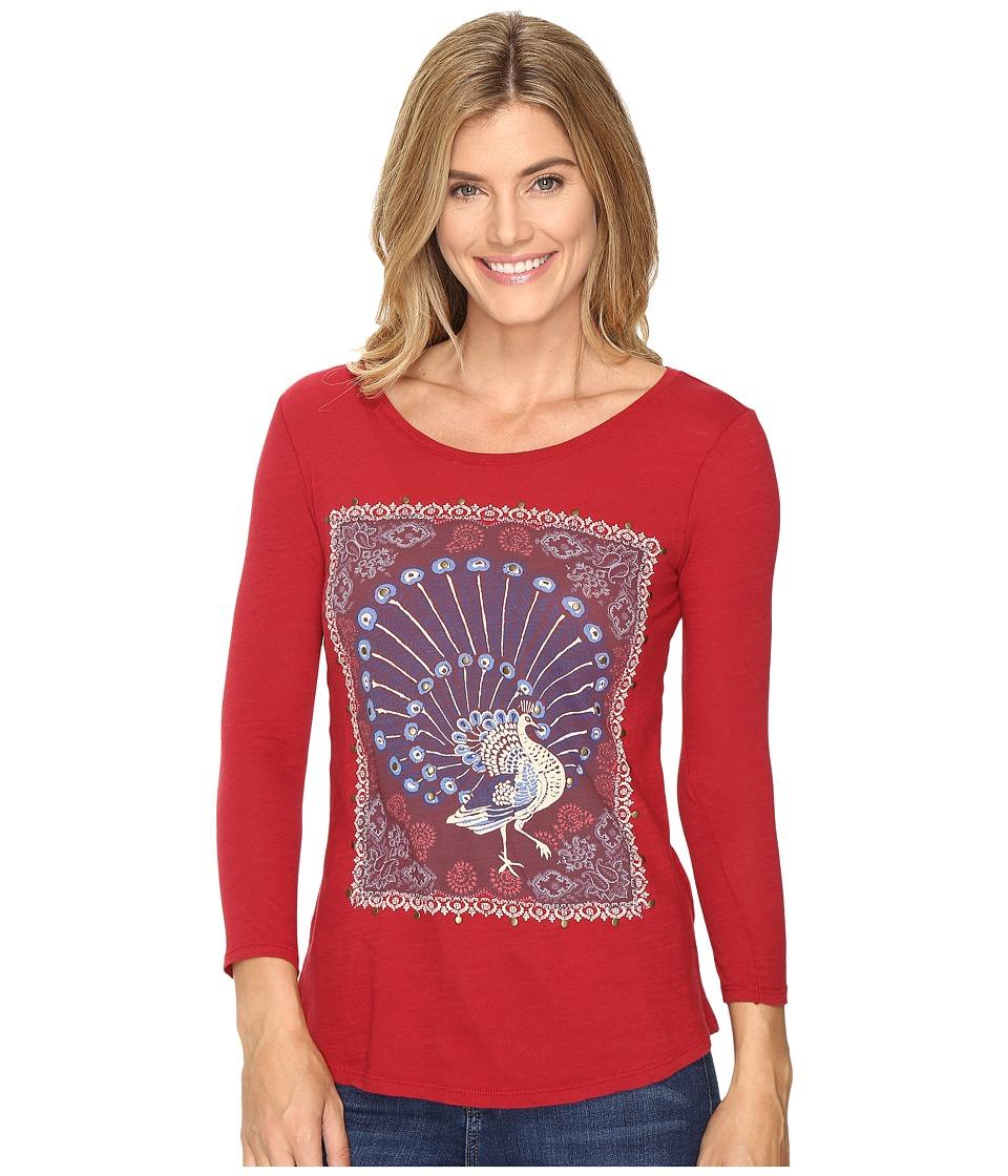Lucky Brand Peacock Rug Tee (Rio Red) Women
