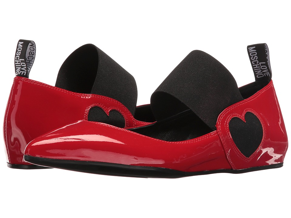 LOVE Moschino Ballerina Shoe w/ Strap (Red) Women