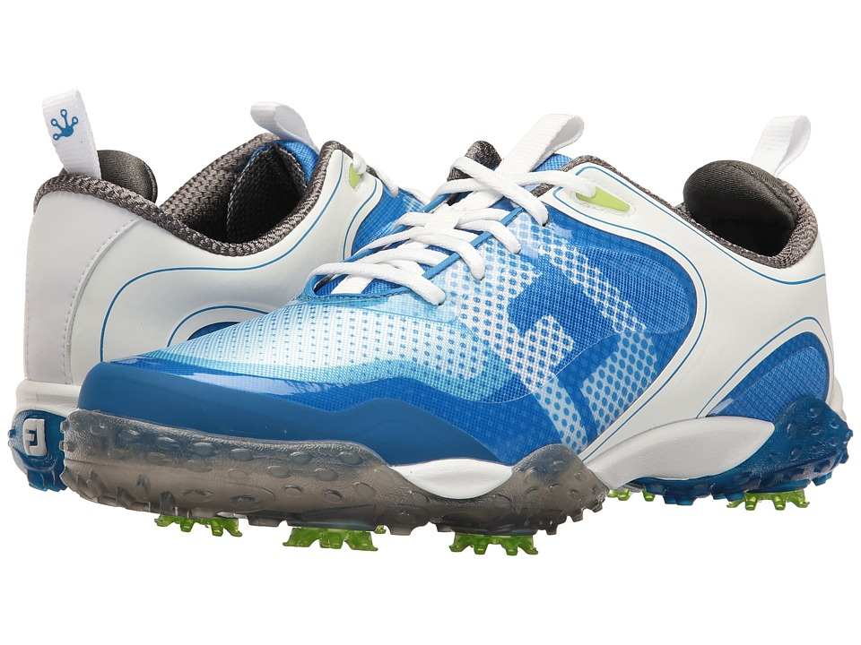 FootJoy - Freestyle Cleated Saddle BOA (White/Electric Blue) Mens Golf Shoes