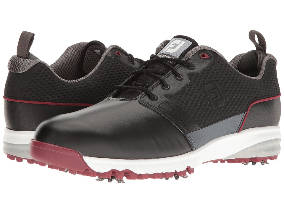 FootJoy Contour FIT Cleated Plain Toe (Black) Men's Golf ...