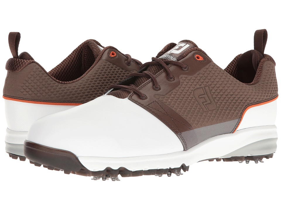 FootJoy Contour FIT Cleated Plain Toe (White/Brown) Men's...