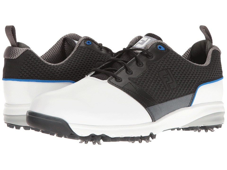 FootJoy Contour FIT Cleated Plain Toe (White/Black) Men's...