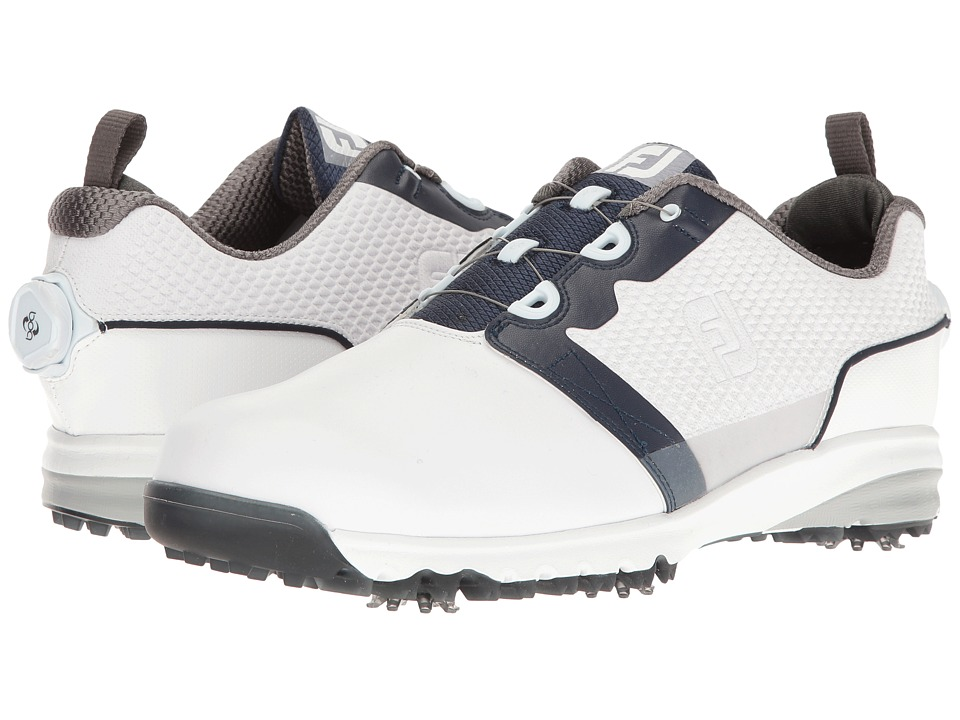 FootJoy Contour FIT Cleated Plain Toe BOA (White/Navy) Me...