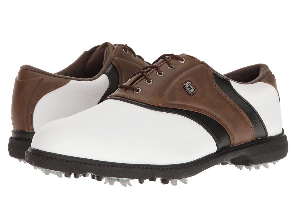 FootJoy Originals Cleated Plain Toe Twin Saddle (White/Br...