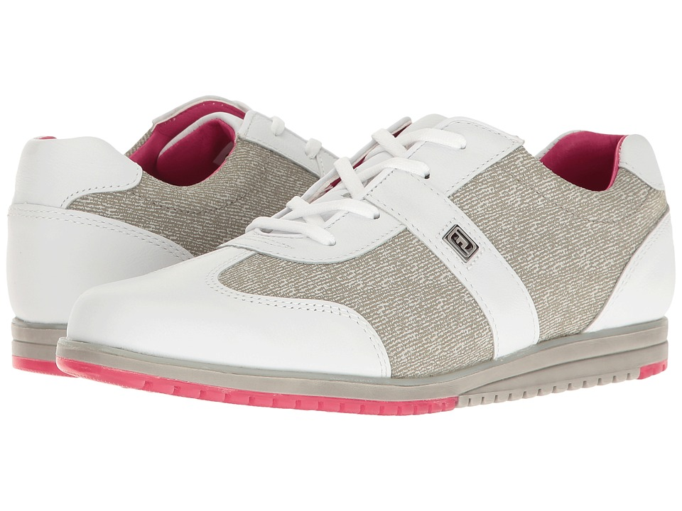 FootJoy Spikeless Casual Collection T-Toe U-Throat (White/Grey Linen) Women