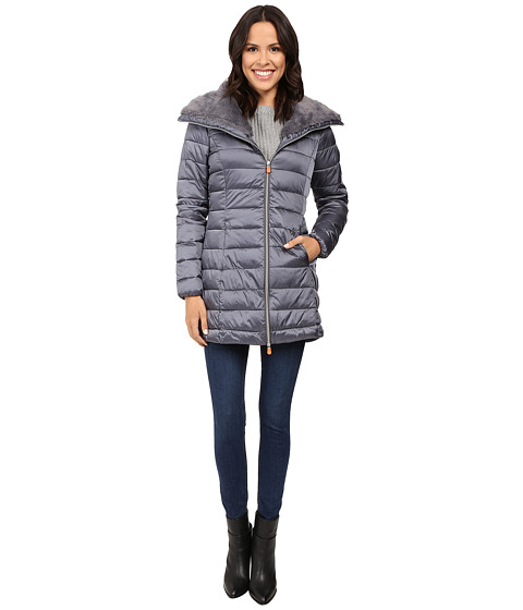 Save the Duck Puffer Coat w/ Faux Fur Collar - Steel Grey