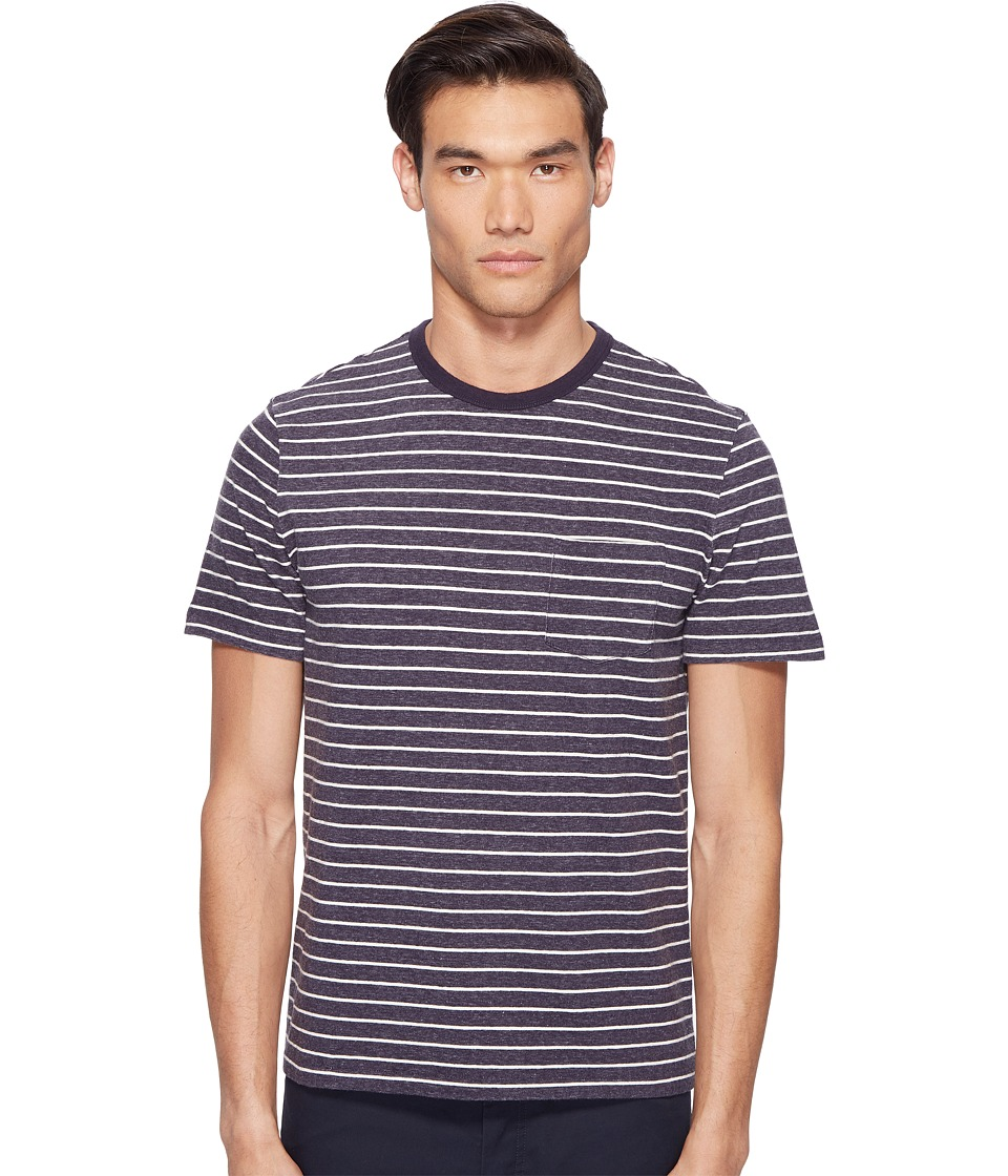 Jack Spade Short Sleeve Striped Tee (Dark Navy) Men