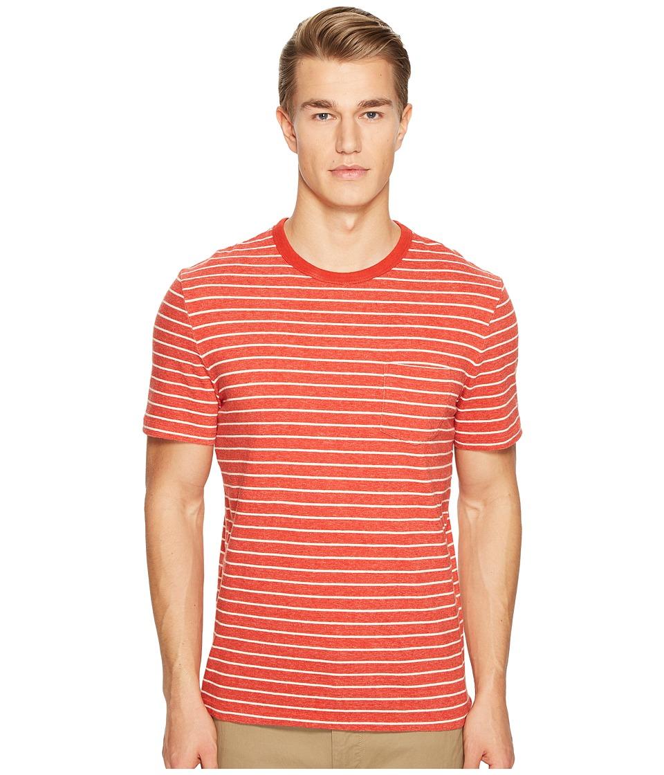 Jack Spade Short Sleeve Striped Tee (Red Orange) Men