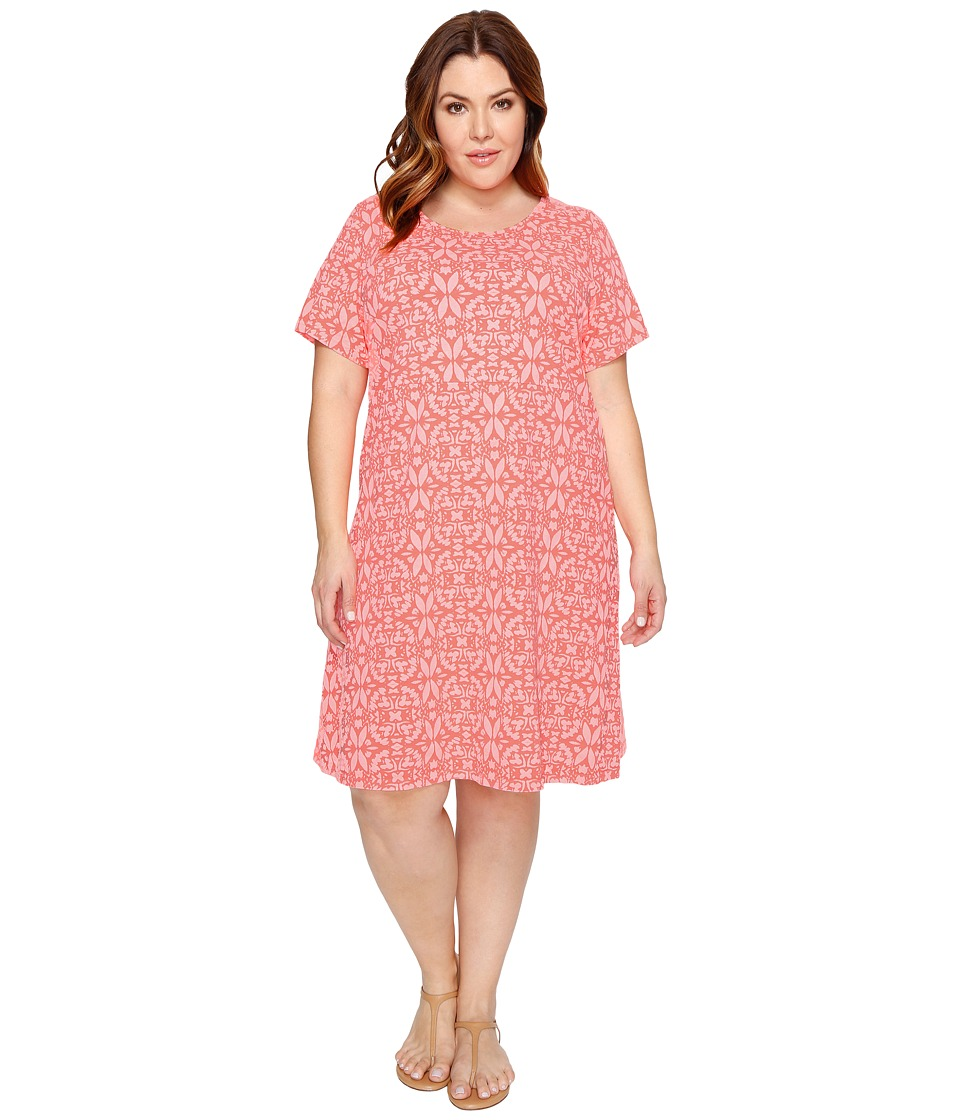 Extra Fresh by Fresh Produce - Plus Size Island Batik Sadie Dress (Sunset Coral) Womens Dress