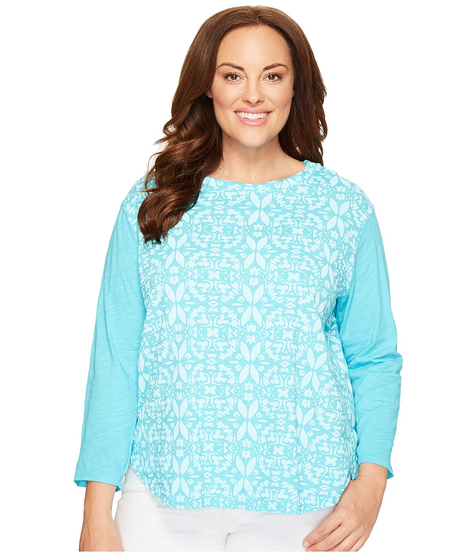Extra Fresh by Fresh Produce - Plus Size Island Batik Catalina Mingle Top (Luna Turquoise) Womens Clothing
