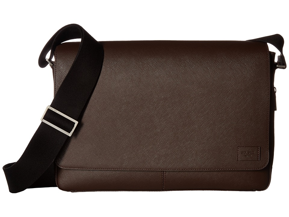 Jack Spade Barrow Leather Messenger (Mahogany) Messenger Bags