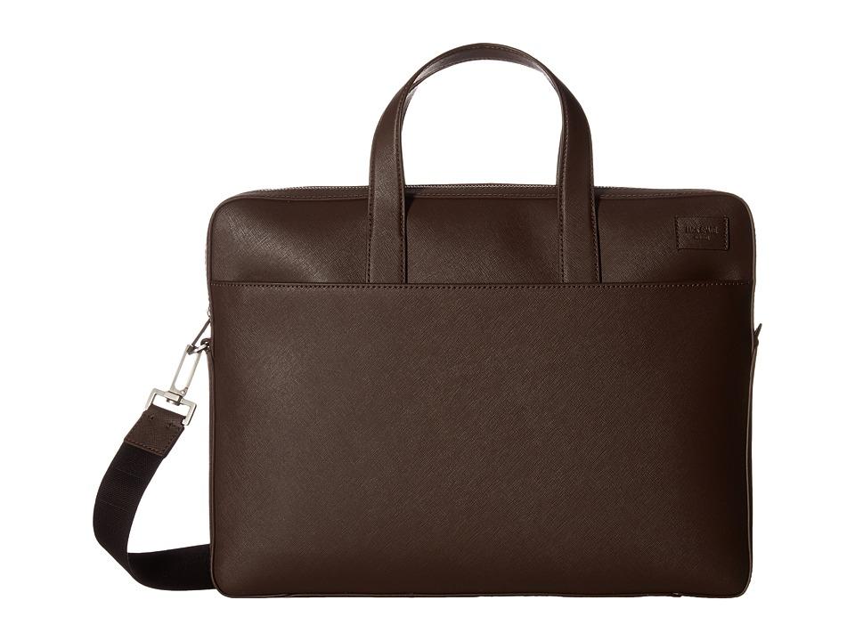 Jack Spade Barrow Leather Slim Brief (Mahogany) Briefcase Bags
