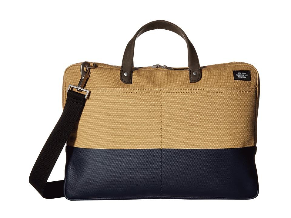 Jack Spade Dipped Industrial Canvas Slim Brief (Khaki/Navy) Briefcase Bags