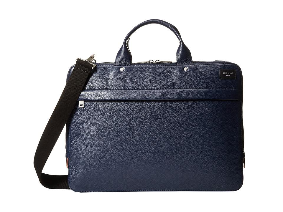 Jack Spade Mason Leather Slim Brief (Navy) Briefcase Bags