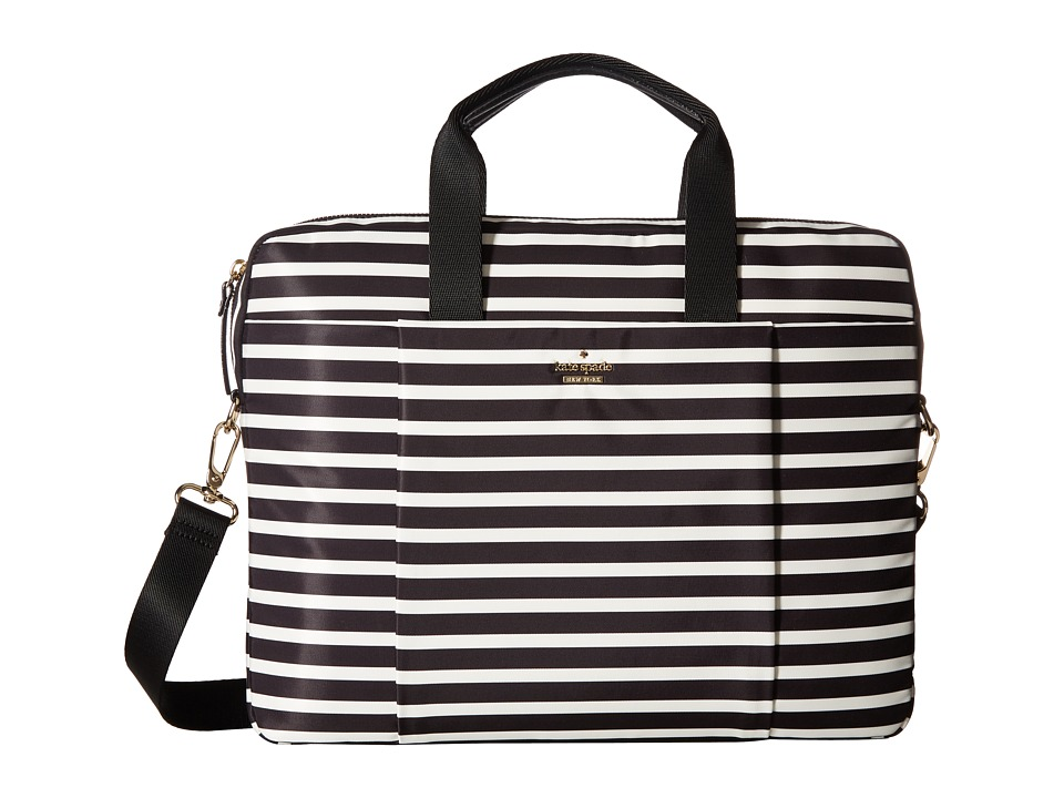 Kate Spade New York Stripe Nylon Laptop Bag Laptop Case (Black/Cream) Computer Bags