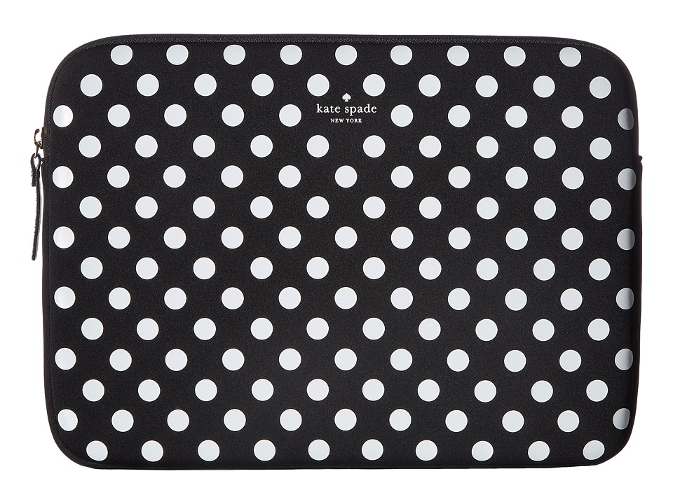 Kate Spade New York 13 Neoprene Dot Sleeve Laptop Case (Black/Clotted Cream) Computer Bags