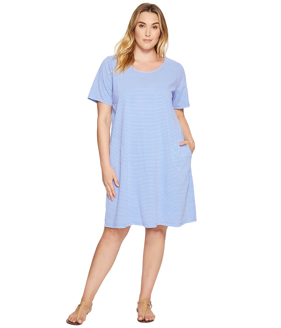 Extra Fresh by Fresh Produce - Plus Size Pinstripe Allure T-Shirt Dress (Periwinkle) Womens Dress