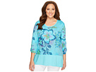 Extra Fresh by Fresh Produce Plus Size Cabana Bright Windfall Top