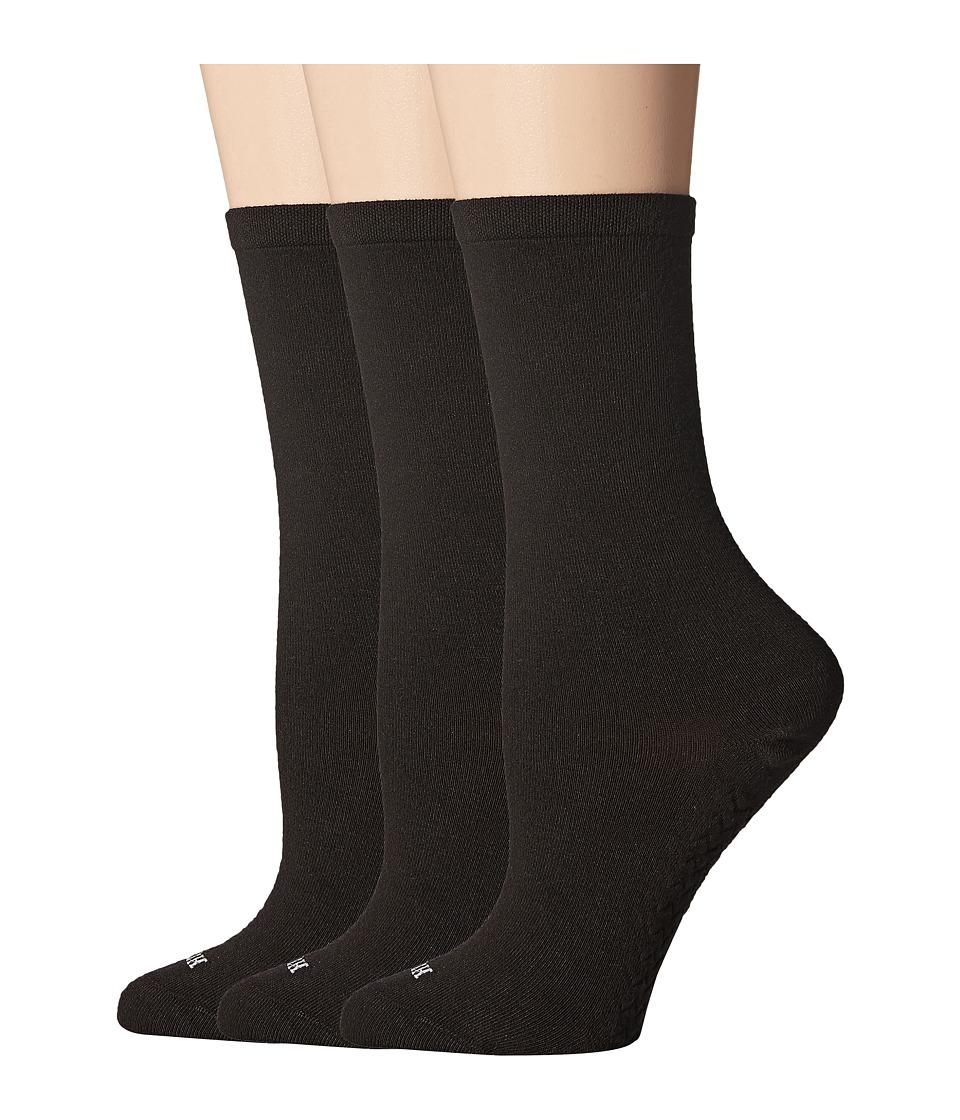 HUE - Massaging Sole Socks 3-Pack (Black) Womens Crew Cut Socks Shoes