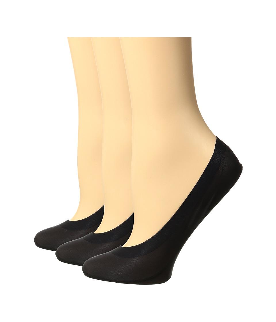 HUE - Perfect Edge Liner 3-Pack (Black) Womens Crew Cut Socks Shoes