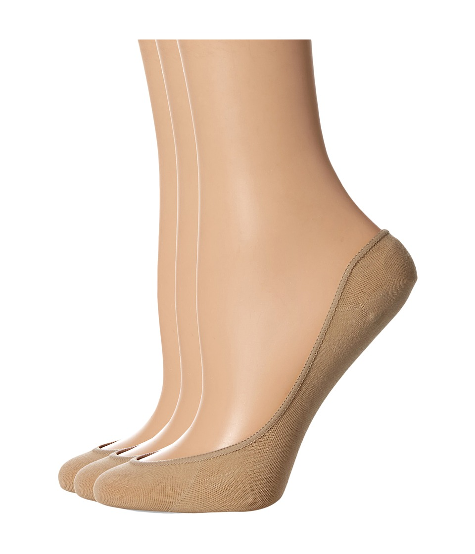 HUE - Cool Contours Low Cut Liner 3-Pack (Cream) Womens Low Cut Socks Shoes