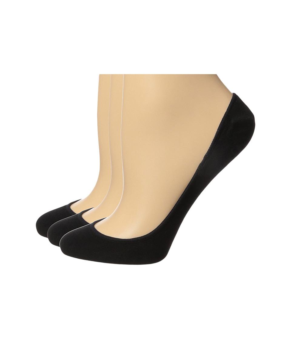 HUE - Hidden Cotton Liner 3-Pack (Black) Womens Crew Cut Socks Shoes