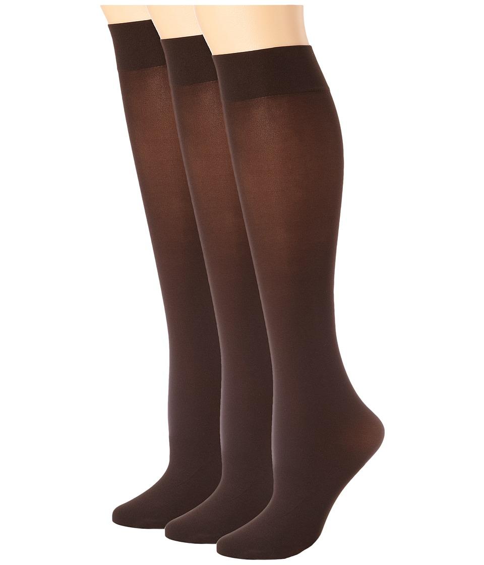 HUE - Soft Opaque Knee High 3-Pack (Espresso) Womens Knee High Socks Shoes