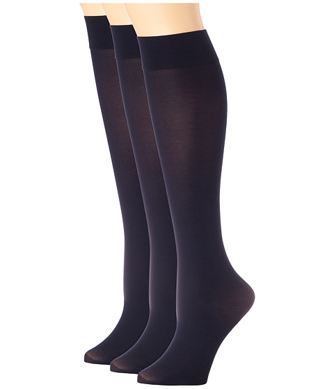 HUE Soft Opaque Knee High 3-Pack - Navy