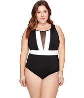 La Blanca - Plus Size Block My Way Over the Shoulder Plunge One-Piece