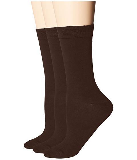 HUE Solid Femme Top Socks 3-Pack - Espresso