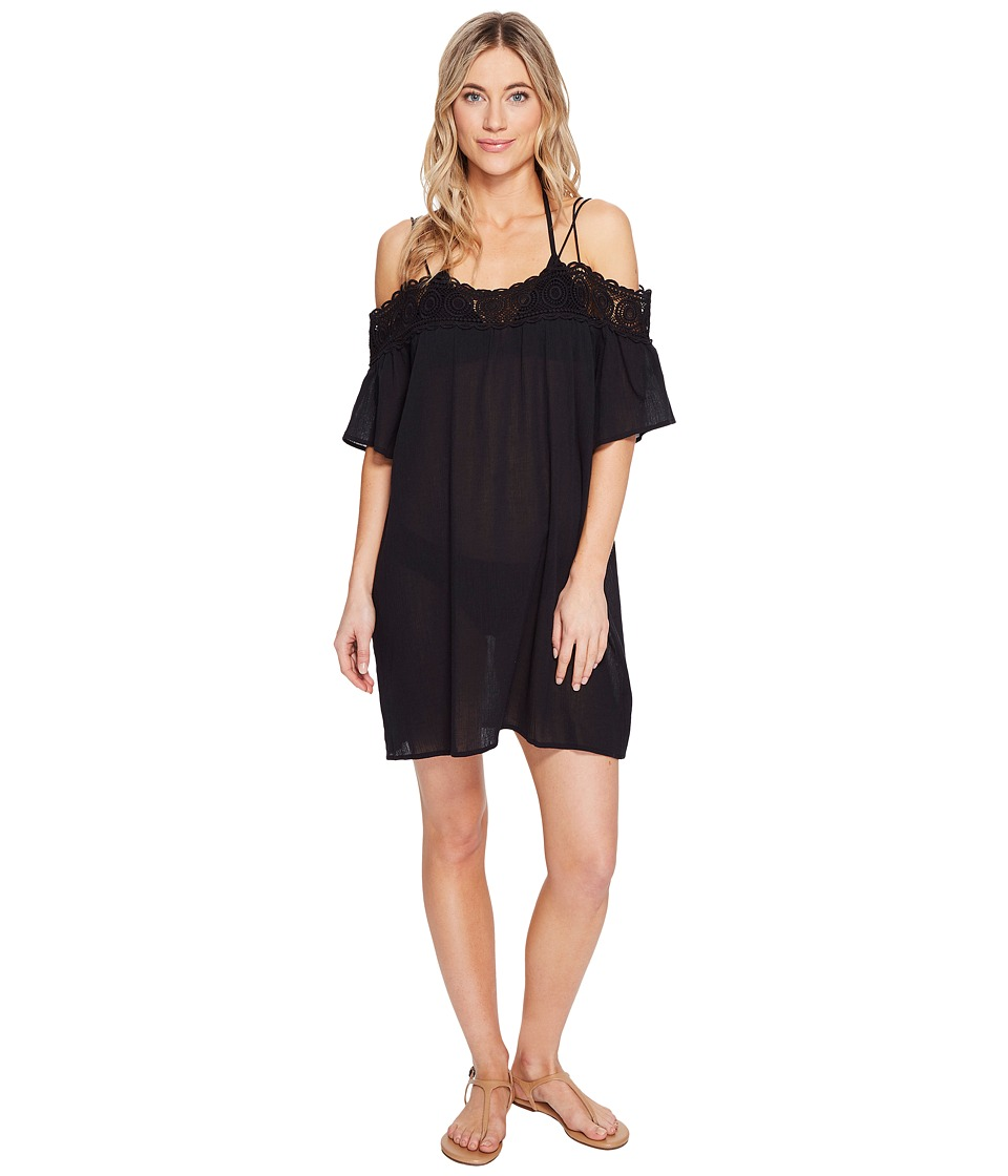La Blanca Island Goddess Off The Shoulder Dress Cover-Up (Black) Women