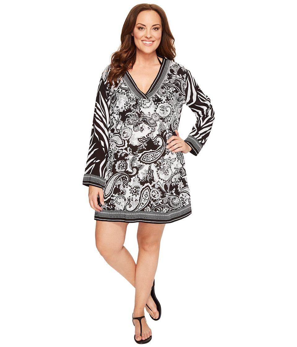 La Blanca Plus Size Sevilla Scarf V-Neck Tunic Cover-Up (Black/White) Women