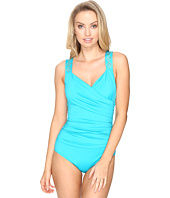 Jantzen - Solids Novelty Shoulder Draped Surplice One-Piece