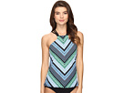 Geo Graphic Stripe High Neck Tankini Top
