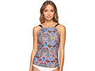 Vibrant Paisley High Neck Tankini Top