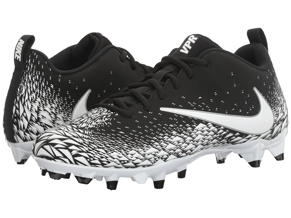 Nike - Vapor Varsity Low TD (Black/White/Metallic Silver/White) Mens Cleated Shoes