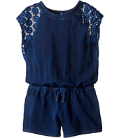 Splendid Littles - Indigo Baby French Terry Romper w/ Lace (Big Kids)