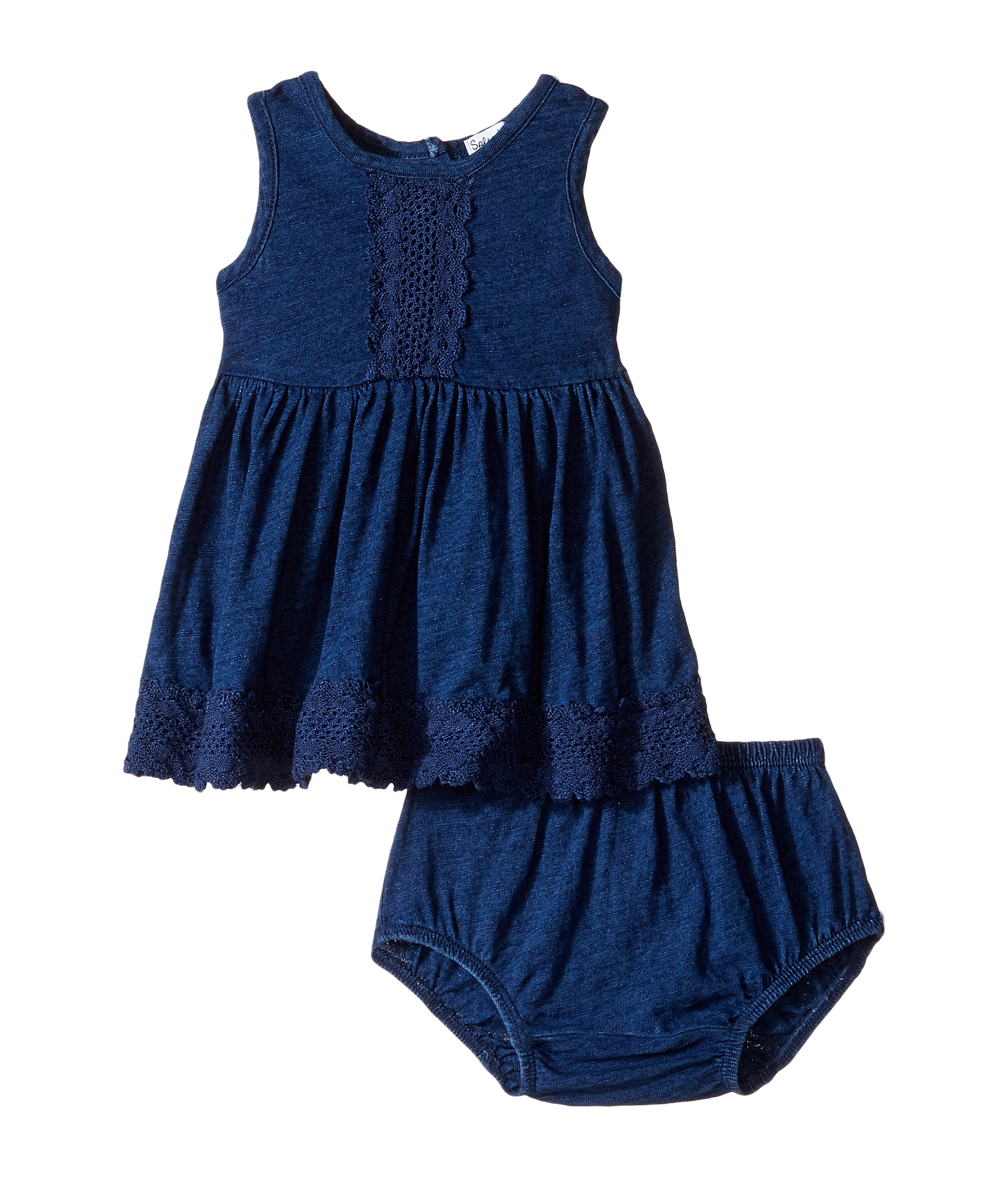Splendid Littles Indigo w Lace Trim Dress Infant at