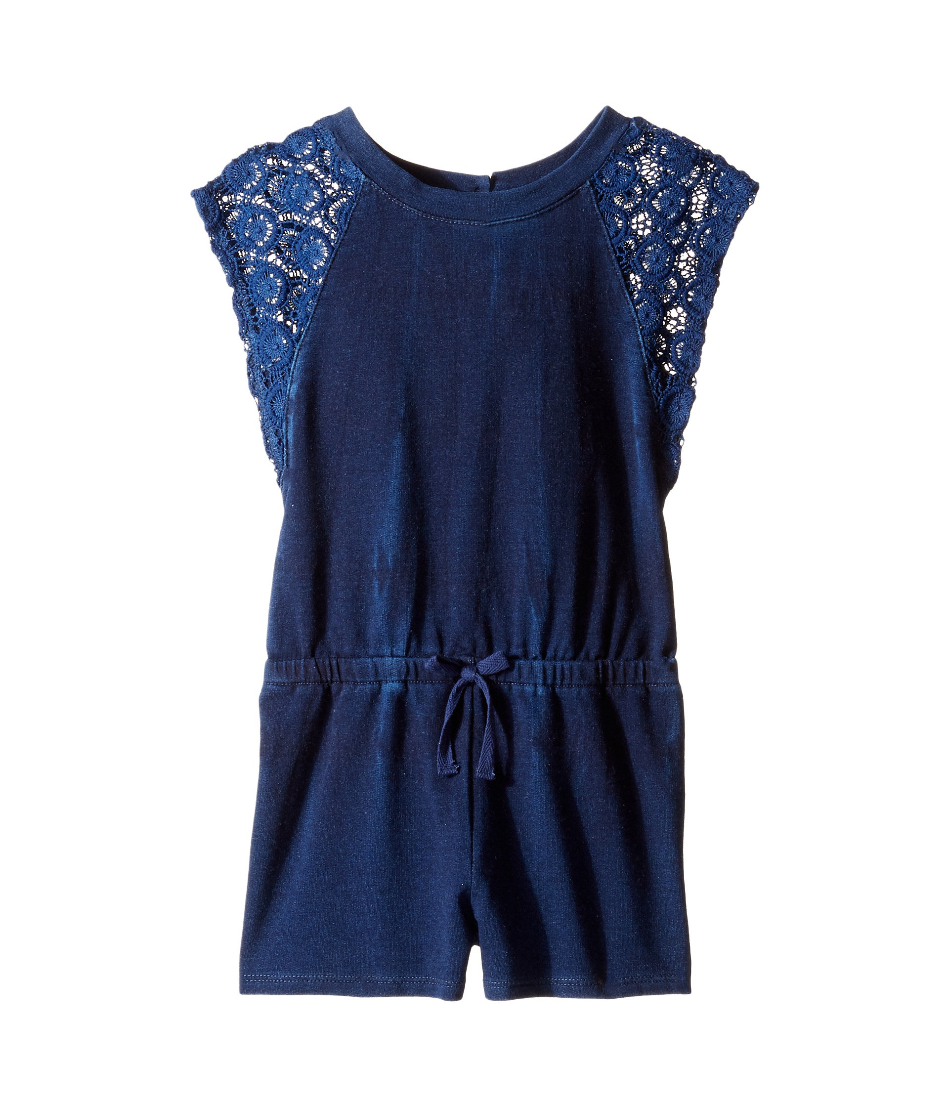 Splendid Littles Indigo Baby French Terry Romper w Lace