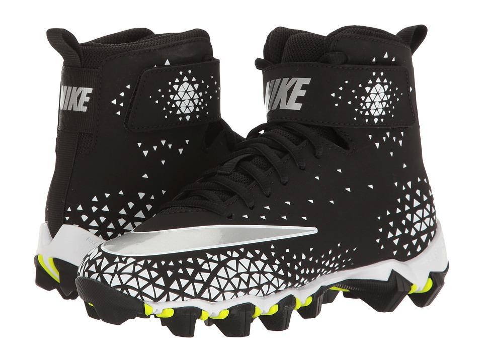 Nike Kids Force Savage Shark Football (Toddler/Little Kid/Big Kid) (Black/Metallic Silver/White) Kids Shoes