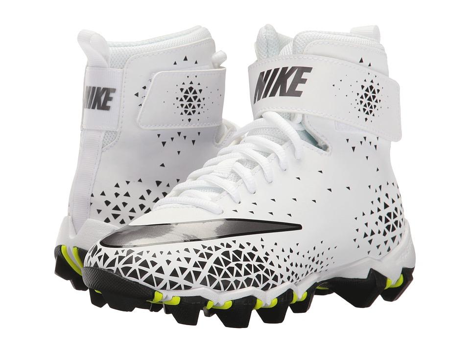 Nike Kids Force Savage Shark Football (Toddler/Little Kid/Big Kid) (White/Metallic Dark Grey/Black) Kids Shoes