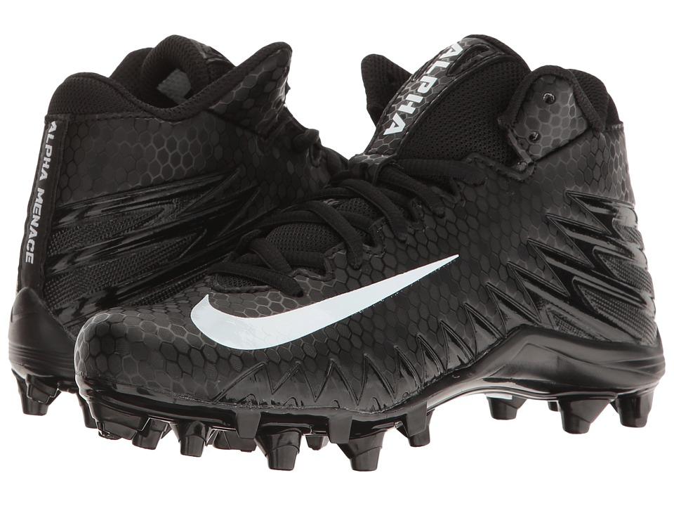 Nike Kids Alpha Menace Varsity Mid Football (Little Kid/Big Kid) (Black/White/White) Kids Shoes