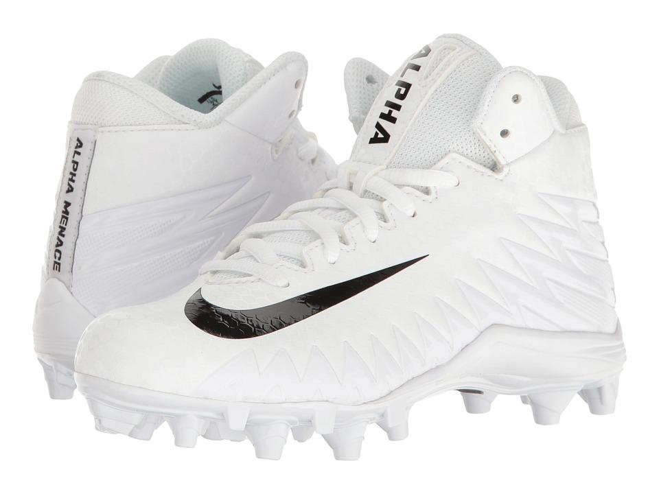 Nike Kids Alpha Menace Varsity Mid Football (Little Kid/Big Kid) (White/Black/Black) Kids Shoes
