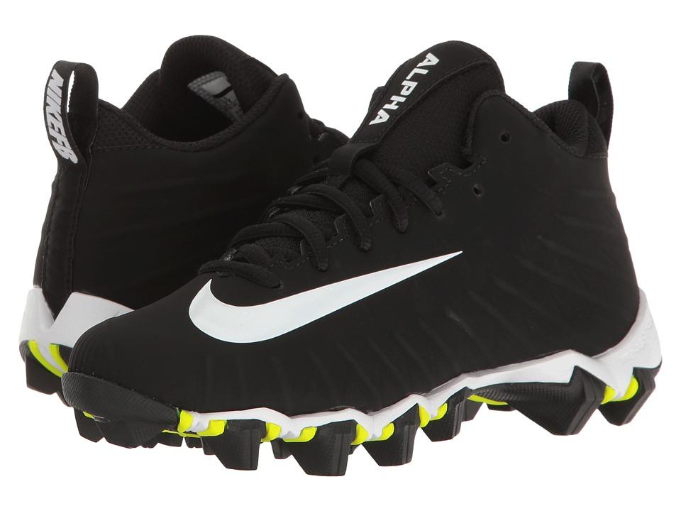 Nike Kids Alpha Menace Shark Football (Toddler/Little Kid/Big Kid) (Black/White/White) Kids Shoes