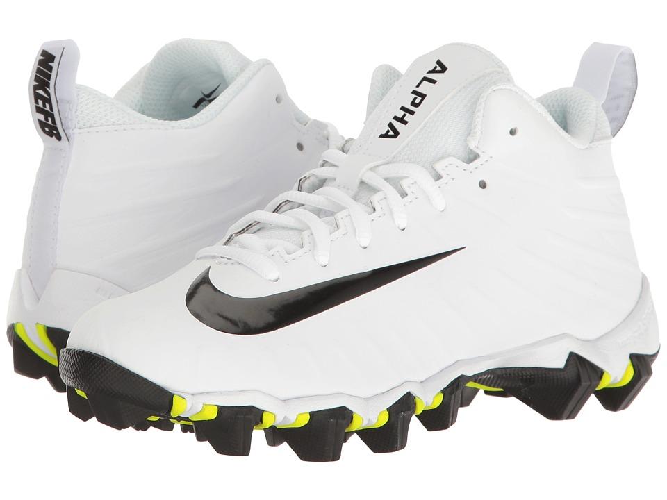 Nike Kids Alpha Menace Shark Football (Toddler/Little Kid/Big Kid) (White/Black/Black) Kids Shoes