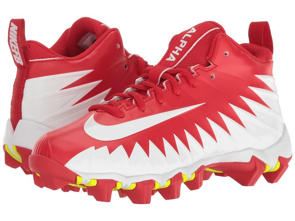 Nike Kids Alpha Menace Shark Football (Toddler/Little Kid/Big Kid) (University Red/White/Team Red) Kids Shoes