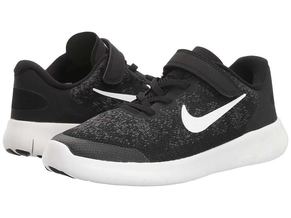Nike Kids Free RN 2017 (Little Kid) (Black/White/Dark Grey/Anthracite) Boys Shoes