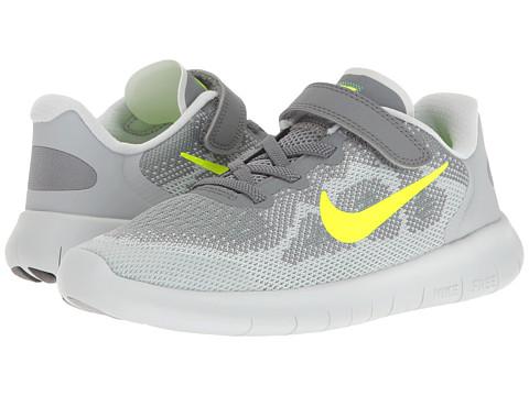 Nike Kids Free RN 2 (Little Kid) - Cool Grey/Volt/Wolf Grey/Electro Green