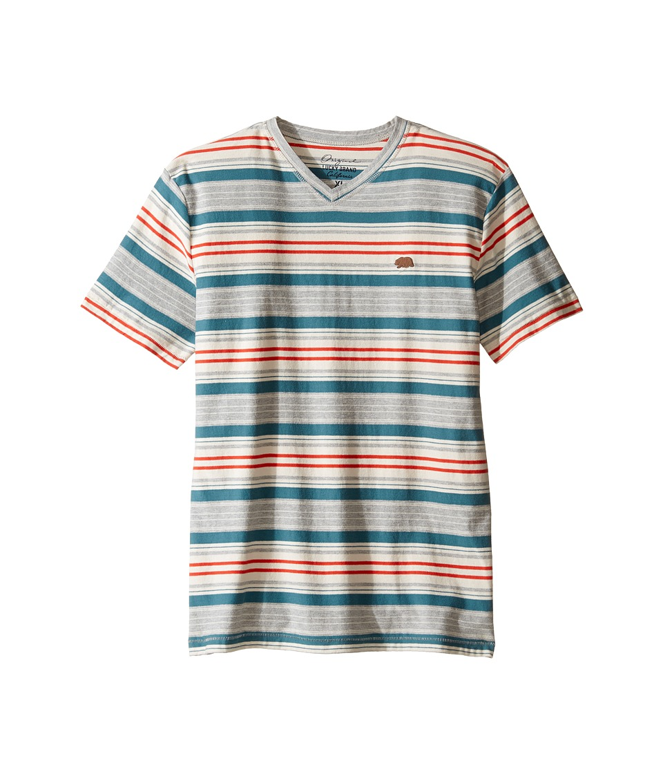 Lucky Brand Kids V-Neck Striped T-Shirt (Big Kids) (Heather Light) Boy