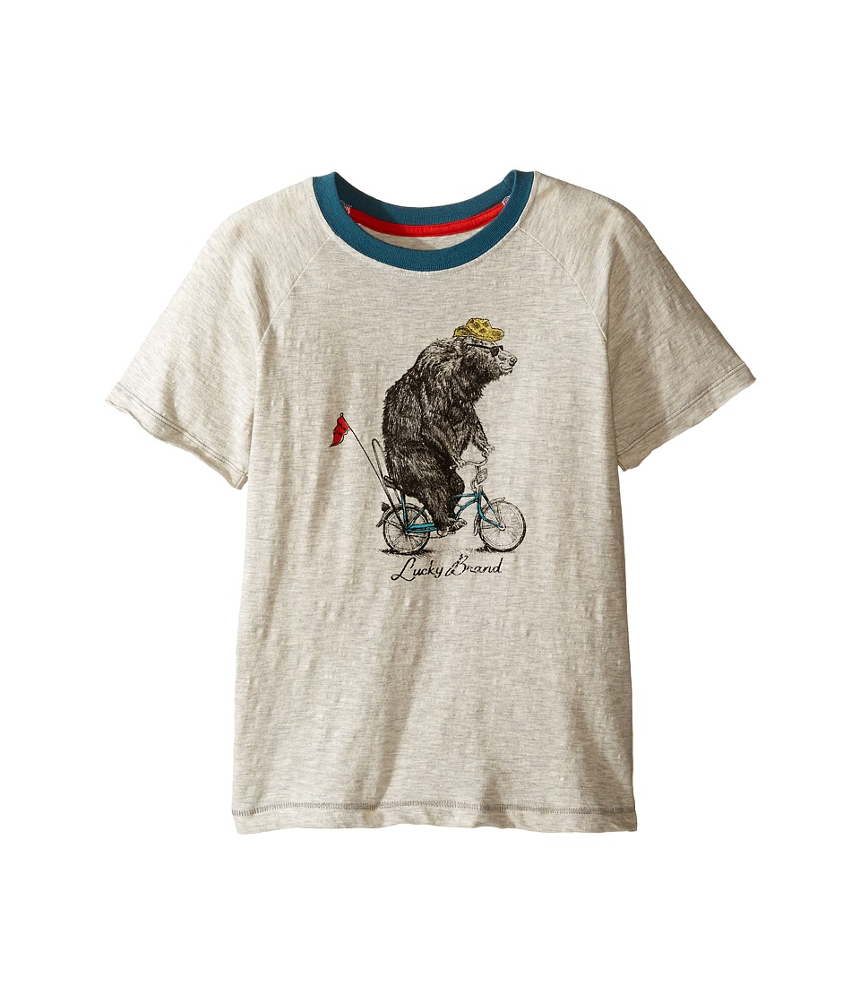 Lucky Brand Kids Raglan Tee w/ Bicycle Bear Screen Print (Little Kids/Big Kids) (Turtle Dove) Boy